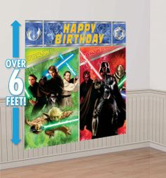 Star Wars Scene Setters - Party City We could use either one for the back drop-the kids could have a light saber in the picture, too!