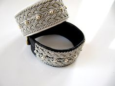 Wide sami bracelet, reindeer leather, beads in sterling silver, pewter wire… White Leather, Pewter, Cuff Bracelets, Rings For Men, Etsy, Sterling Silver, Beads, Trending Outfits, Unique Jewelry
