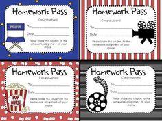 HOLLYWOOD THEME HOMEWORK PASSES/COUPONS - TeachersPayTeachers.com