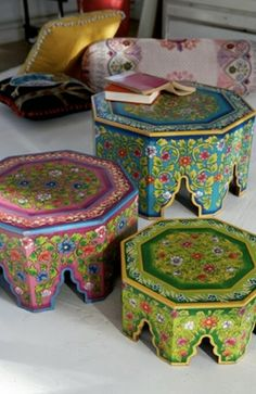 Moroccan style tables, painted