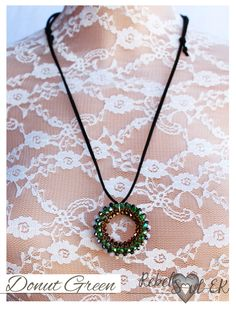 Donut Necklace, Long Pendant , Donut Pendant, Crystal Donut Pendant, beach jewelry, Beaded sparkling pendant, green bronze, rebelsoulek