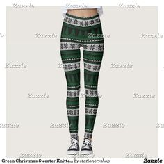 Green Christmas Sweater Knitted Look Leggings