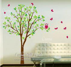 Vinyl wall decals green  tree pink owl butterfly Nature Tree Wall mural Nursery wall decal children- tree owl butterfly Z142 Cuma
