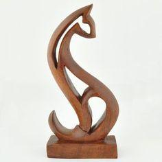 Wooden Abstract Cat Sculpture