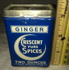 ANTIQUE CRESCENT GINGER SPICE TIN LITHO CAN MOON GRAPHICS SEATTLE WA VINTAGE OLD