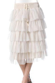 Jade Mackenzie - Ivory Ruffle Skirt, $25.00 (http://www.jademackenzie.com/ivory-ruffle-skirt/)