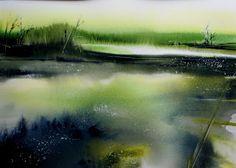 Aquarel Liliane Goossens Watercolor Artists, Watercolor Landscape, Abstract Watercolor, Watercolor And Ink, Watercolor Illustration, Landscape Art, Landscape Paintings, Watercolor Paintings, Watercolors