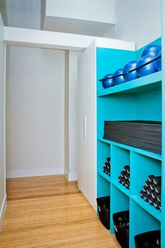 Weight & equipment storage. Barre Fitness North Shore www.barrefitness.com