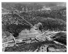 1957 ~ Dotted lines from the upper left to center show the proposed path of the Fort Pitt Tunnels, which would speed traffic headed for Pittsburgh on Banksville Road from the South Hills suburb of Pittsburgh into the Golden Triangle.