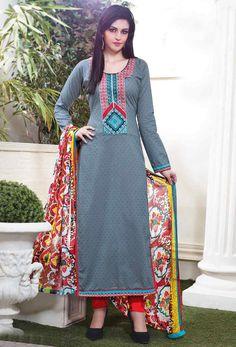 Gray #Cotton #Long #Salwar #Kameez #nikvik  #usa #designer #australia #canada #freeshipping #suits