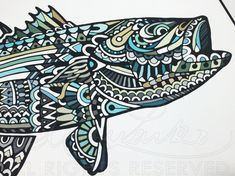 """Limited Edition Striped Bass Zentangle Fish Art Gicleé Print 13""""x19"""" Archival Matted to 18""""x24"""""""""""