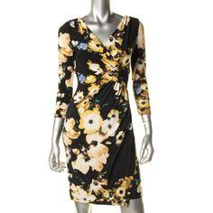 Lauren Ralph Lauren Black Matte Jersey Floral Print Casual Dress Petites 8P #LaurenRalphLauren #Sheath #Formal