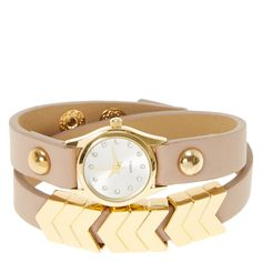 <P>So much better than a boring plain watch. This soft faux leather wrap watch has gold arrow charms along the band. The gold face matches the pretty charms and pairs perfectly with the soft neutral band. </P><UL><LI>Faux leather <LI>Gold toned </LI></UL>