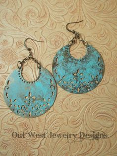 Gypsy Cowgirl Earrings - Antiqued Brass Crescents with a Virdigris Finish - pinned by pin4etsy.com