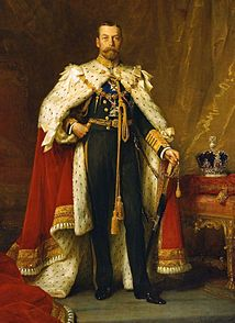 King George V ruled the UK 1910-1936  -married to Queen Mary (his older brother's fiancee-before the brother died);   -ruled during the First World War (1914-1918)  -grandson of Queen Victoria & Prince Albert  -son of King Edward VII  -father of Kind Edward VIII (the guy who in The King's Speech abdicated the throne)