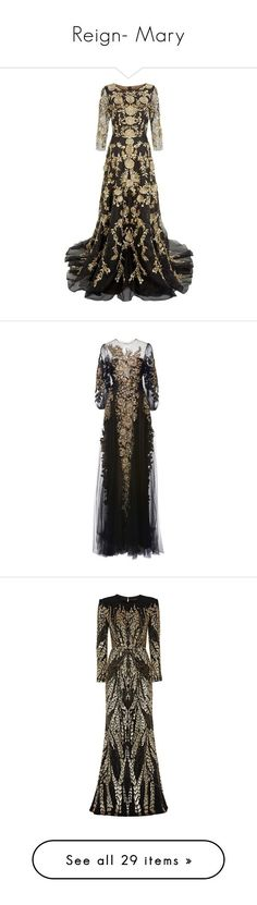 """""""Reign- Mary"""" by claytkat ❤ liked on Polyvore featuring black, lace, dresses, Gowns, tulle, gowns, long dress, floral print evening gown, see through dress and sheer dress"""