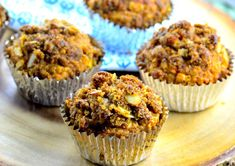 Yummy muffins pack a nutritious punch in the morning, great for a healthy grab-n-go breakfast. You can alter this recipe any way you like and with what you have on hand, very versatile. I started with Recipe # 8845 from Kathy-Lynn and tweaked it so much it turned into something else. Recipe includes a brown sugar And nut topping. I used almonds and walnuts, but any kind of nut would be good with this.