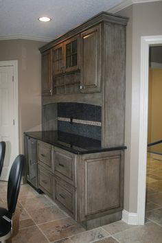 Kitchen dry bar, Medallion Appaloosa finish [Copper River Cabinet Company]