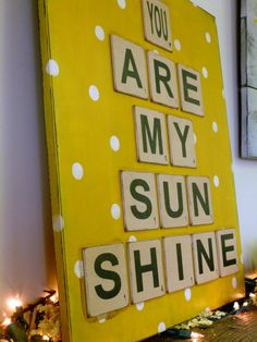 You Are My Sunshine Scrabble Tile Sign, Wall Art, Home Decor, Signage, Nursery Sign, Baby Sign, Room Decor on Wanelo