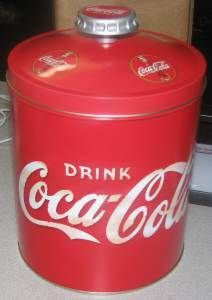 Coca-Cola Tin Cookie Jar Canister Bottle Top