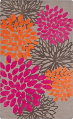 You should feel how soft this Abigail Collection rug is. Microfiber floral pattern stands out in bright orange and hot pink. From Surya. (ABI-9070)