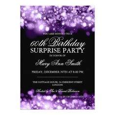 Surprise Birthday Party Purple Sparkling Lights 5x7 Paper Invitation Card