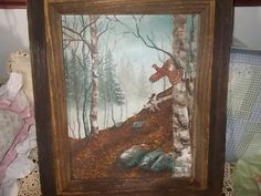 Rustic Painting Picture by  D.R Whitlock,Rustic Painting Mountains,Pheasant,Wild Life,Stream,Painting, 1978 ,Vintage Home Decor,Men Cave  s by Daysgonebytreasures on Etsy