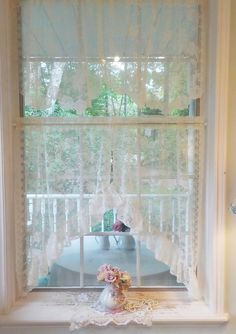 Lace Curtain Panels, Lace Curtains, Vintage Curtains, Vintage Windows, Romantic Home Decor, Romantic Homes, Valance Window Treatments, Lace Table Runners, Window Hanging