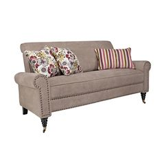 angelo:HOME Harlow Parisian Tan-Gray Velvet Sofa