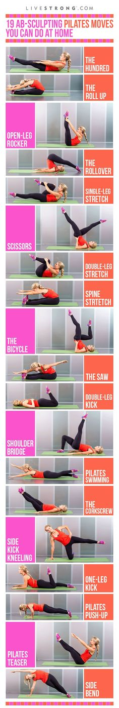 Sculpt your core with these 19 Pilates moves! Click through for GIFs of each move>>> You don't need an expensive studio to get a great Pilates workout. Try these 19 Pilates exercises at home to sculpt your abs and strengthen your core. Pilates Workout, Fitness Workouts, Pilates Moves, Yoga Pilates, Cardio Training, Lower Ab Workouts, Butt Workout, At Home Workouts, Fitness Tips