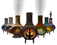 Large Menu Driven Chiminea - Outdoor Fireplace - Lots of fun options to customize and play with!
