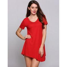 Short Sleeve O Neck Asymmetrical Hem Solid Shift Casual Dress