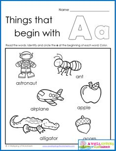 Things that Begin with A-Z Worksheets Kids read the words of the 6 objects that start with that letter of the alphabet, circle the beginning letter and color!