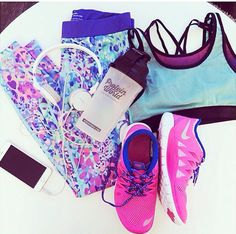 purple. pink. teal. running tights. teal. purple. sports bra. pink. Nikes. work-out.