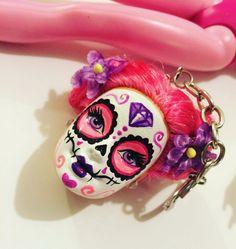 Sugar Skull Day of the Dead Doll Keychain Hot Pink Teddy Dia de Los Muertos