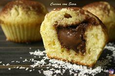 Muffins cocco e nutella.Chi come me adora sia il cocco che la nutella, non potrà resistere a questi favolosi muffins:un impasto al cocco e un cuore cremoso