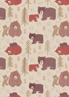 Big Bear - Little Bear. Big Bear-Little Bear on Milky Tea Bear Illustration, Pattern Illustration, Bear Wallpaper, Pattern Wallpaper, Laundry Basket Quilts, Gift Wrapper, Bear Print, Cute Cartoon Wallpapers, Cotton Quilting Fabric