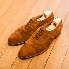 beautiful suede brogue oxfords shoes - saint crispins