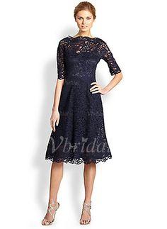 Kleider für die Brautmutter - $139.16 - A-Linie/Princess-Linie U-Ausschnitt Knielang Spitze Kleid für die Brautmutter mit Spitze (0085055953)