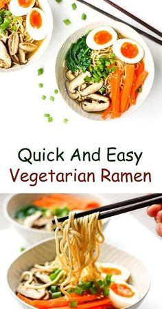 10 Vegetarian Ramen Noodle Recipes - Vegetarian ramen is healthy and makes a nutritious snack. From classic vegetable ramen, to mushroom - Vegetarian Ramen, Vegetarian Recipes, Healthy Recipes, Healthy Foods, Yummy Recipes, Gourmet Recipes, Beef Recipes, Chicken Recipes, Vegetable Ramen