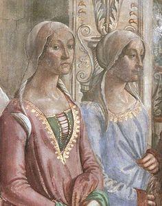 Clarice Orsini (1450-1488) with sister. Daughter of Jacopo Orsini, Lord of Monterotondo and Bracciano and Maddalena Orsini. Wife of Lorenzo de Medici. Died from tuberculosis