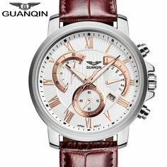 59.96$  Watch here - http://ali6eb.worldwells.pw/go.php?t=32756569267 - Brand GUANQIN Men Military Watch Sport Luminous Watches Chronograph Leather Quartz Wristwatches Relogio Masculino relojes hombre