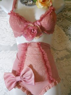 Pink bra set panty girdle vintage ruffles dusty rose bow pin up buresque  romantic small by vintage opulence on Etsy. $95.00, via Etsy.