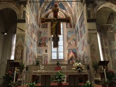 Arezzo, Basilica di San Francesco, Altar area with The Legend of the True Cross by Piero Della Francesca