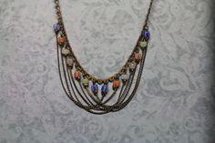 MidCENTURY KOREAN NECKLACE, Vintage,Authentic, Unique Design, Delicate, Glass Bead,Feminine, Beautiful  Silver tone chain, Precious-from my Etsy shop https://www.etsy.com/listing/258720038/midcentury-korean-necklace