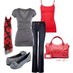 """Another comfy look, minus the floral scarf...    """"Red and Gray"""" by styleofe on Polyvore"""