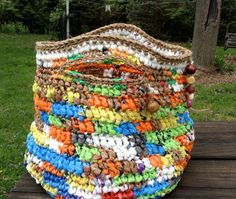 Multicolored Plarn Purse Totle Crocheted with by crochetwerks, $29.00 From PLASTIC BAGS