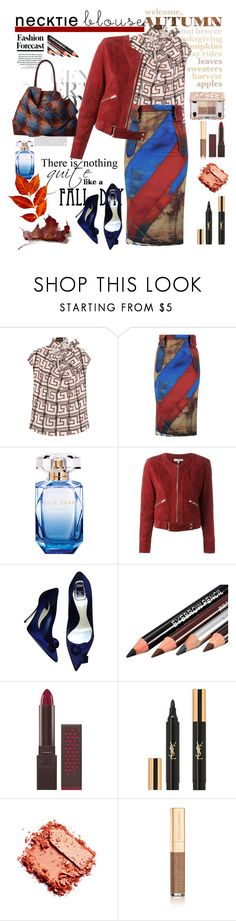 """Fall Trend: Necktie Blouse"" by ellie366 ❤ liked on Polyvore featuring Vivienne Westwood Anglomania, Elie Saab, IRO, Christian Dior, Burt's Bees, Yves Saint Laurent, Dolce&Gabbana, Vivienne Westwood, viviennewestwood and velvet"