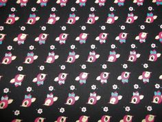 Vintage style Japanese deer headsTrefle created by Kokka made in Japan 100 percent cotton half yard