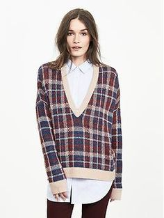 Plaid Vee Pullover | Banana Republic